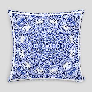 Blue Mediterranean Tile Pattern Everyday Pillow