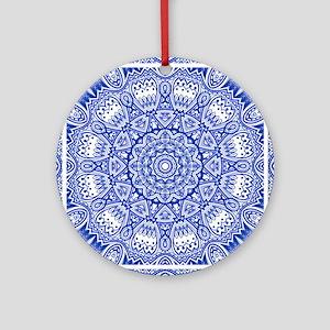 Blue Mediterranean Tile Pattern Round Ornament