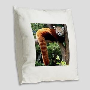 Lounging Red Panda Burlap Throw Pillow
