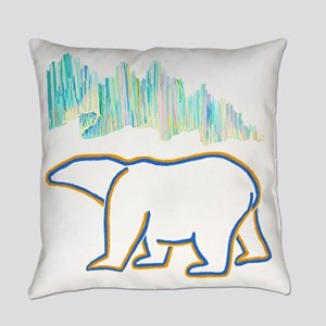 POLAR BEAR AND NORTHERN LIGHTS Everyday Pillow