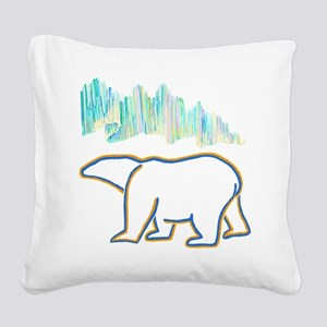 POLAR BEAR AND NORTHERN LIGHT Square Canvas Pillow