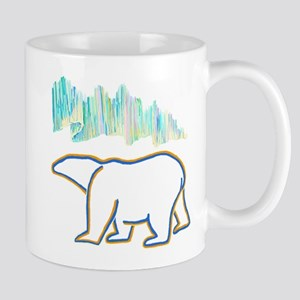 POLAR BEAR AND NORTHERN LIGHTS Mugs