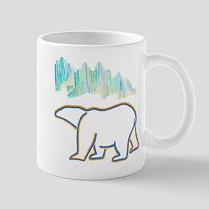 POLAR BEAR AND NORTHERN LIGHTS Mugs