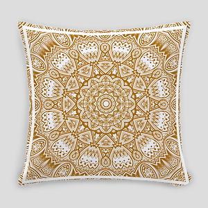 Orange Mediterranean Tile Pattern Everyday Pillow