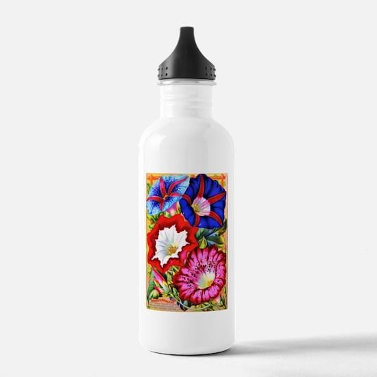 Vintage Japanese Morning Glories Water Bottle
