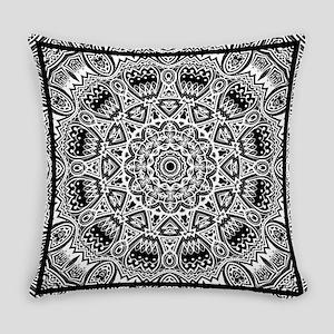 Black & White Mediterranean Tile P Everyday Pillow