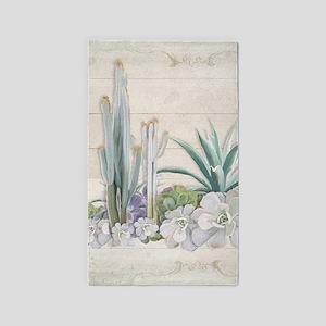 Western Boho Desert Cactus Succulent Wood Area Rug