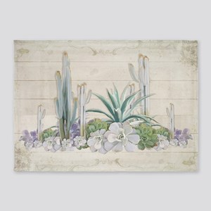 Western Boho Desert Cactus Succulen 5'x7'Area Rug