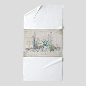 Western Boho Desert Cactus Succulent W Beach Towel