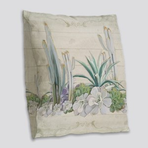 Western Boho Desert Cactus Suc Burlap Throw Pillow