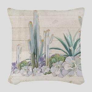 Western Boho Desert Cactus Suc Woven Throw Pillow