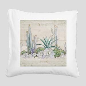 Western Boho Desert Cactus Su Square Canvas Pillow