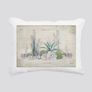 Western Boho Desert Cact Rectangular Canvas Pillow