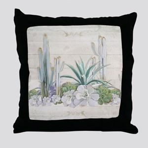 Western Boho Desert Cactus Succulent Throw Pillow