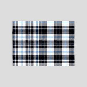 Rustic Plaid Pattern: Dark Blue 5'x7'Area Rug
