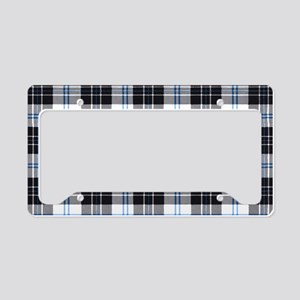 Rustic Plaid Pattern: Dark Bl License Plate Holder