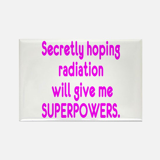 Funny Cancer Radiation Superpowers Pink Magnets