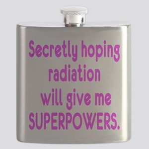 Funny Cancer Radiation Superpowers Pink Flask