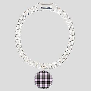 Rustic Plaid Pattern: Pu Charm Bracelet, One Charm