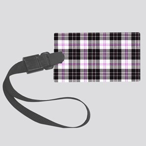 Rustic Plaid Pattern: Purple Large Luggage Tag