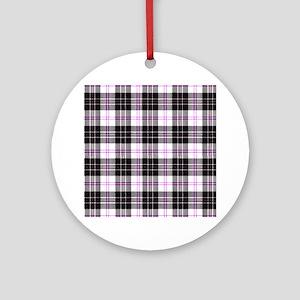 Rustic Plaid Pattern: Purple Round Ornament