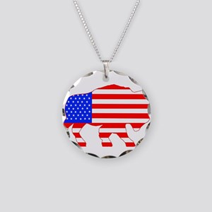 American Buffalo Necklace Circle Charm