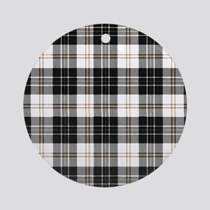 Rustic Plaid Pattern: Brown Round Ornament