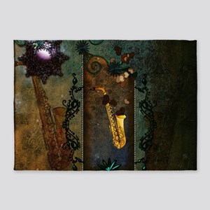 Wonderful golden Saxophone withz hearts 5'x7'Area