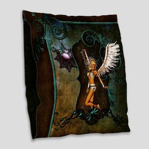 Beautiful angel on vintage background Burlap Throw