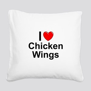 Chicken Wings Square Canvas Pillow