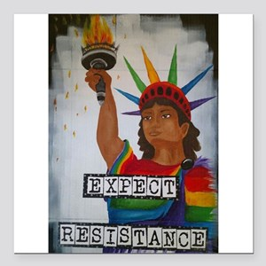 "Expect Resistance Square Car Magnet 3"" x 3"""