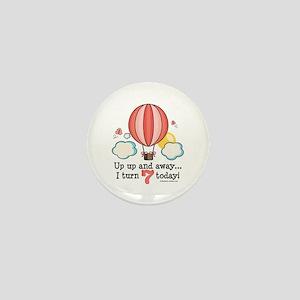 Seventh 7th Birthday Hot Air Balloon Mini Button