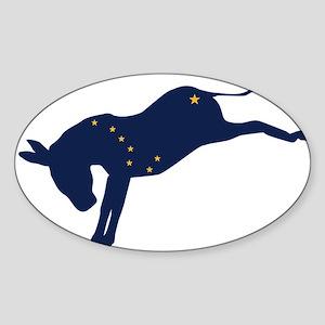 Alaskan Democrat Donkey Flag Sticker