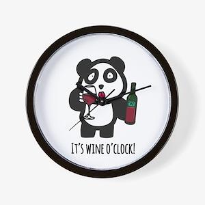 Drinking Panda - It's wine o'cl Wall Clock