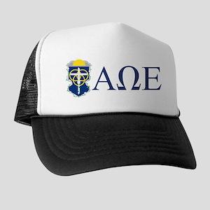 Alpha Omega Epsilon Crest Letters Trucker Hat