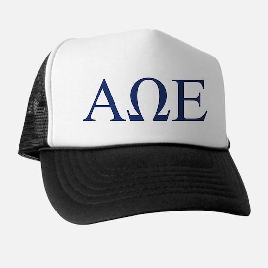Alpha Omega Epsilon Letters Trucker Hat