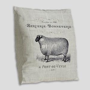 farm animal sheep farmhouse Burlap Throw Pillow