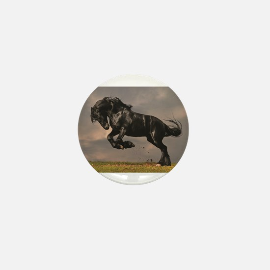 Beautiful horse stallion horses sunset Mini Button