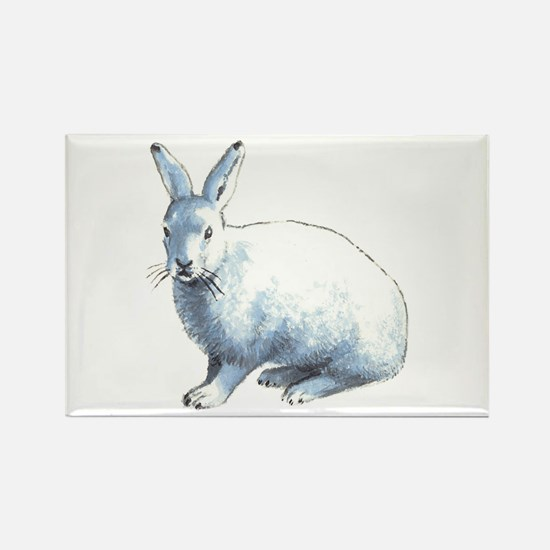 Arctic Snow Hare Rectangle Magnet Magnets