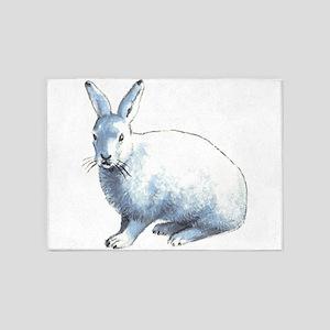 Arctic Snow Hare 5'x7'Area Rug