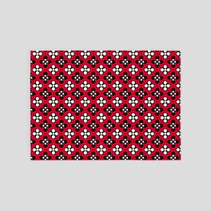 Ornate Red & Black Flower Pattern 5'x7'Area Rug