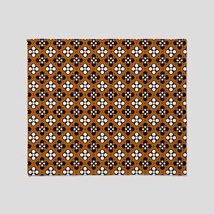Ornate Orange & Black Flower Pattern Throw Blanket