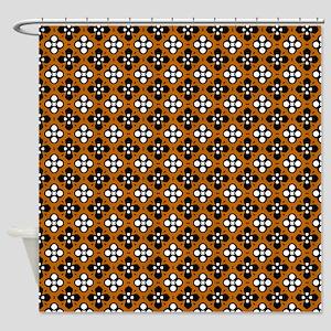 Ornate Orange & Black Flower Patter Shower Curtain