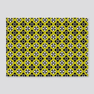 Ornate Yellow & Black Flower Patter 5'x7'Area Rug