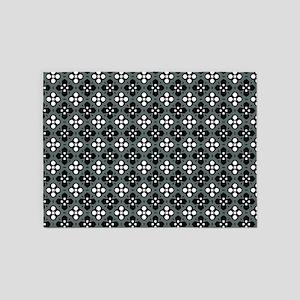 Ornate Grey & Black Flower Pattern 5'x7'Area Rug