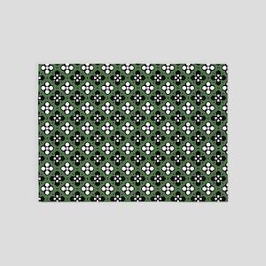 Ornate Forest Green & Black Flower 5'x7'Area Rug