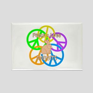 Peace Love Rabbits Rectangle Magnet