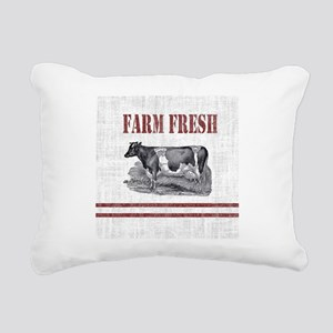 Country Chic Cow Farmhou Rectangular Canvas Pillow