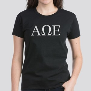 Alpha Omega Epsilon Letters Women's Dark T-Shirt