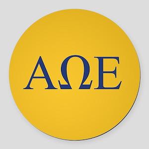 Alpha Omega Epsilon Letters Round Car Magnet